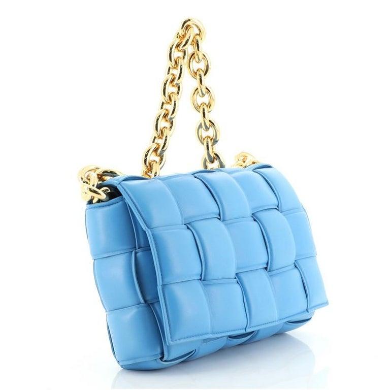 Blue Bottega Veneta Cassette Chain Crossbody Bag Padded Maxi Intrecciato Leather