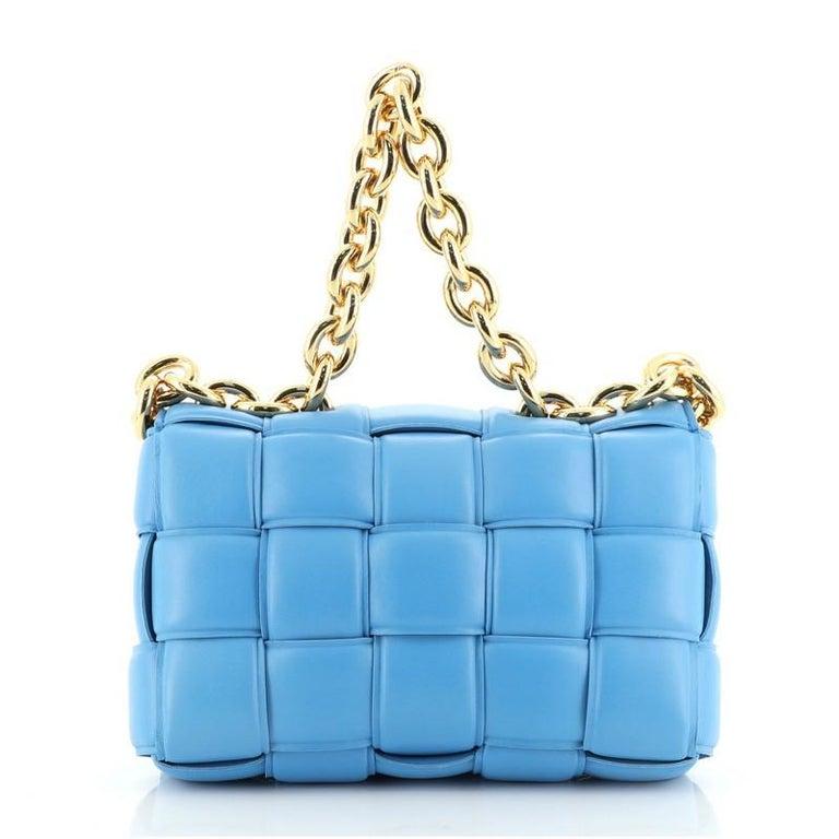 Bottega Veneta Cassette Chain Crossbody Bag Padded Maxi Intrecciato Leather In Good Condition In New York, NY