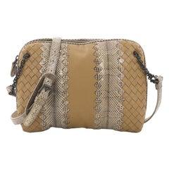 Bottega Veneta Chain Crossbody Bag Intrecciato Nappa and Snakeskin Small