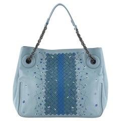 Bottega Veneta Chain Tote Leather With Embroidery And Intrecciato Detail Medium