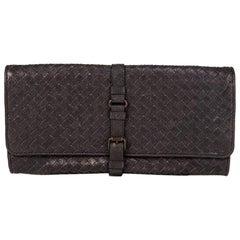 BOTTEGA VENETA charcoal grey INTRECCIATO Buckle Clutch Bag