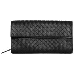 Bottega Veneta Charcoal Grey Long Woven Wallet