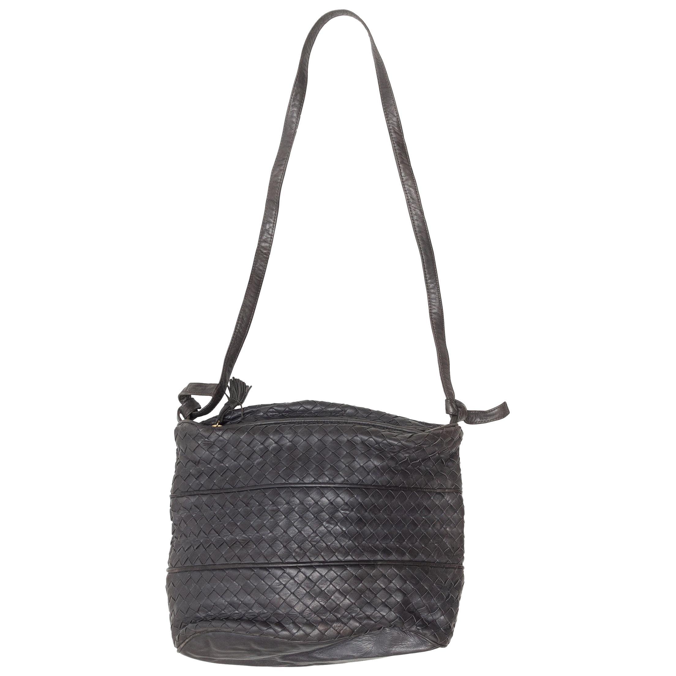 Bottega Veneta Charcoal Intrecciato Shoulder Bag