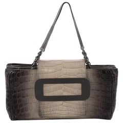 Bottega Veneta Compartment Chain Shoulder Bag Cocco Glace Crocodile Medium