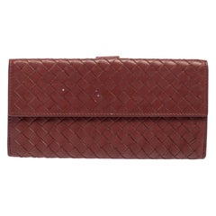 Bottega Veneta Copper Intrecciato Leather Continental Flap Wallet