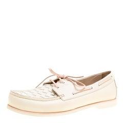 Bottega Veneta Cream Intrecciato Leather Boat Loafers Size 39