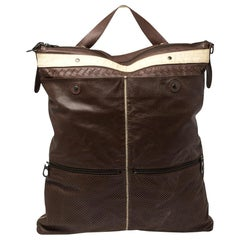 Bottega Veneta Dark Brown/Cream Perforated Leather Pocket Tote