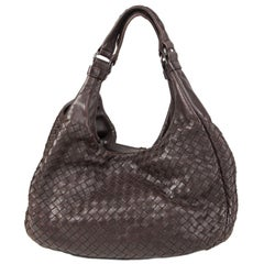 BOTTEGA VENETA dark brown INTRECCIATO CAMPANA MEDIUM Hobo Shoulder Bag