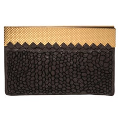 Bottega Veneta Dark Brown Intrecciato Leather Clutch