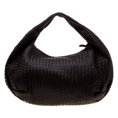 Bottega Veneta Dark Brown Intrecciato Leather Large Veneta Hobo
