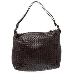 Bottega Veneta Dark Brown Intrecciato Leather Pyramid Shoulder Bag