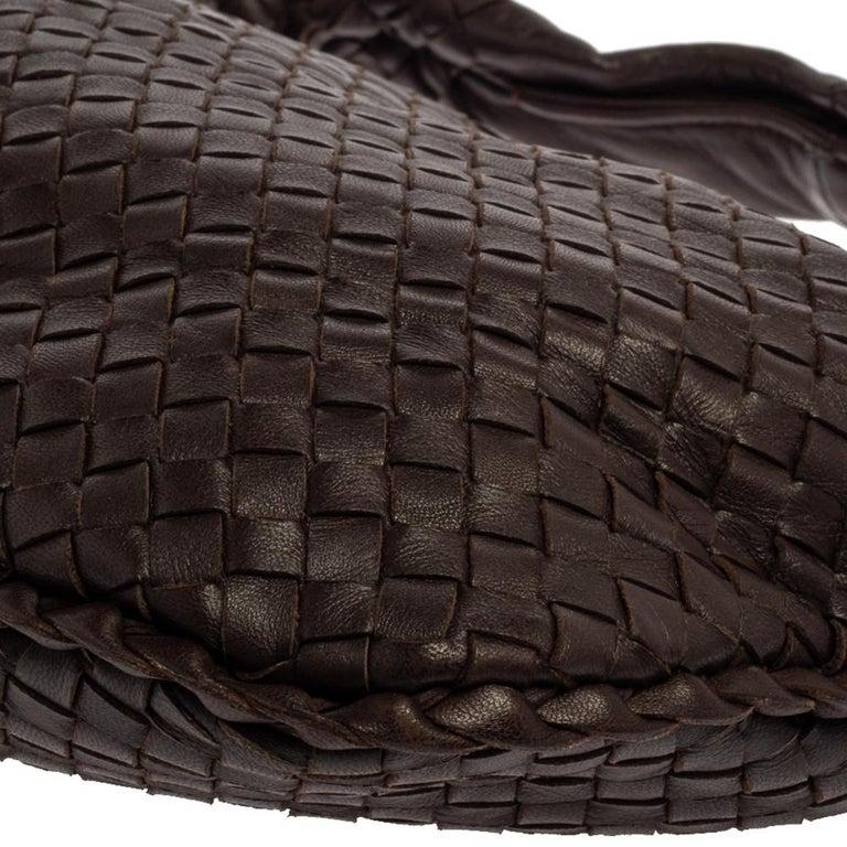 Bottega Veneta Dark Brown Intrecciato Leather Small Veneta Hobo For Sale 5