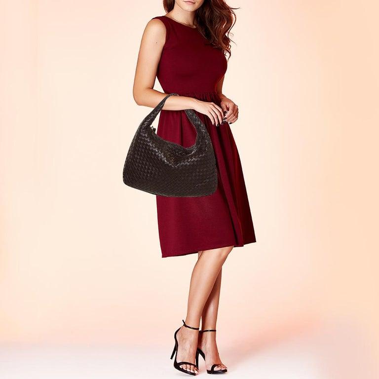 Black Bottega Veneta Dark Brown Intrecciato Leather Small Veneta Hobo For Sale