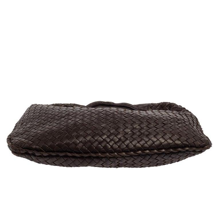 Women's Bottega Veneta Dark Brown Intrecciato Leather Small Veneta Hobo For Sale