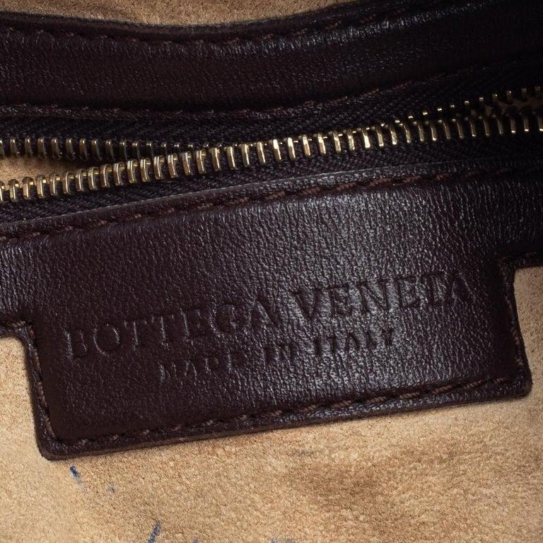Bottega Veneta Dark Brown Intrecciato Leather Small Veneta Hobo For Sale 1