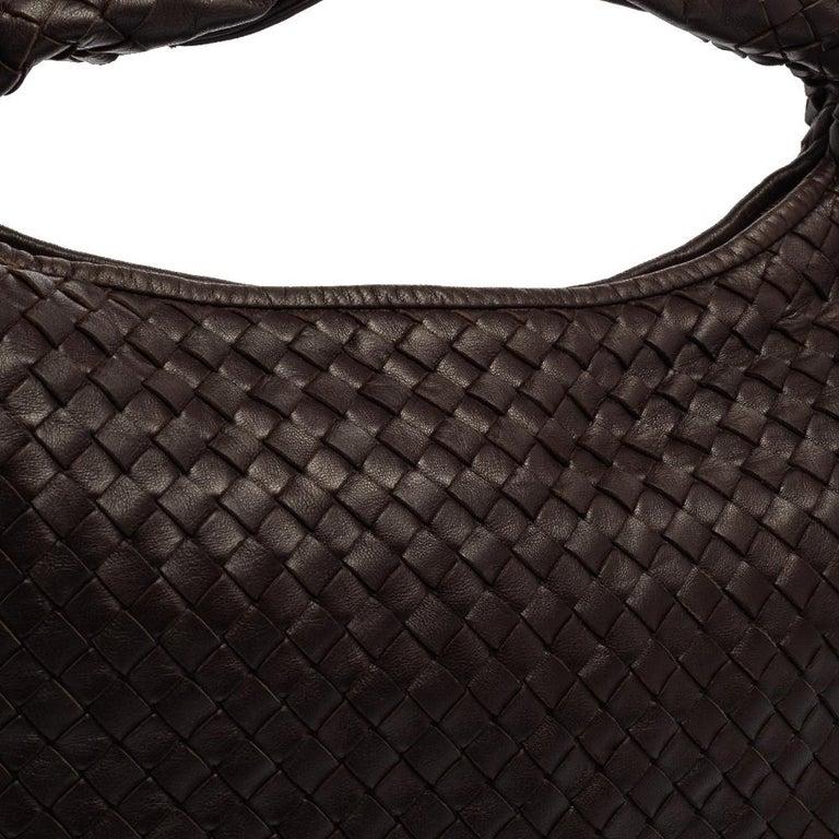 Bottega Veneta Dark Brown Intrecciato Leather Small Veneta Hobo For Sale 2