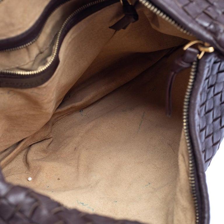 Bottega Veneta Dark Brown Intrecciato Leather Small Veneta Hobo For Sale 3