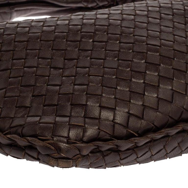 Bottega Veneta Dark Brown Intrecciato Leather Small Veneta Hobo For Sale 4