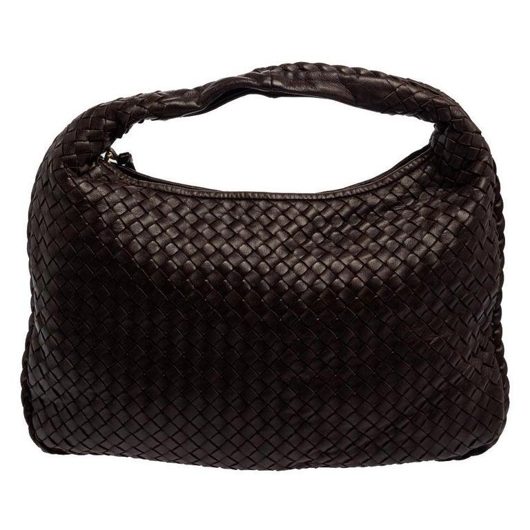 Bottega Veneta Dark Brown Intrecciato Leather Small Veneta Hobo For Sale