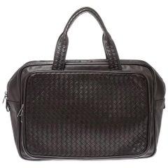 Bottega Veneta Dark Brown Intrecciato Leather VN Carry On Briefcase