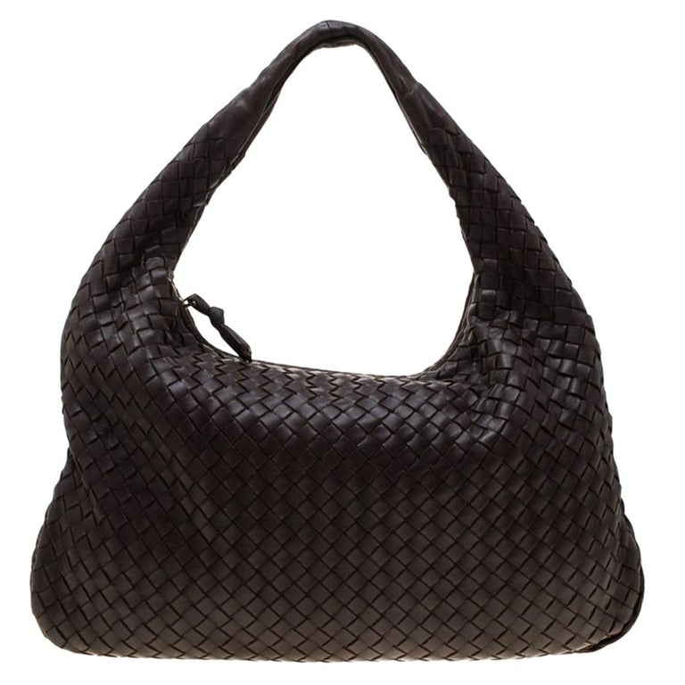Bottega Veneta Dark Brown Intrecciato Nappa Leather Medium Veneta Hobo For Sale