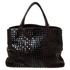 Bottega Veneta Dark Brown Intrecciato Suede and Patent Leather Tote