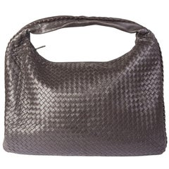BOTTEGA VENETA dark brown INTRECCIATO VENETA LARGE Hobo Shoulder Bag