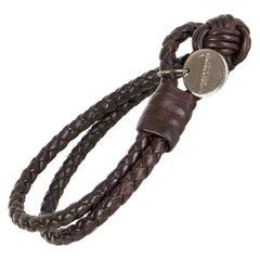 BOTTEGA VENETA dark brown leather BRAIDED INTRECCIATO Bracelet