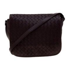 Bottega Veneta Dark Burgundy Intrecciato Leather Crossbody Bag