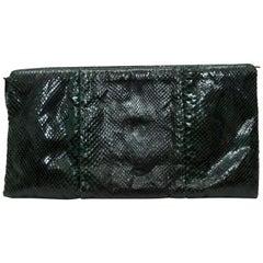 Bottega Veneta Dark Green Snakeskin Clutch