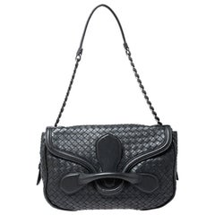 Bottega Veneta Dark Grey Intrecciato Leather Flap Chain Bag
