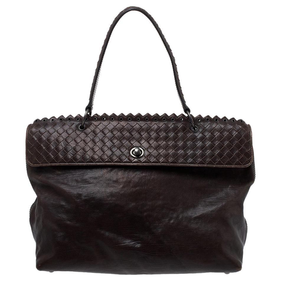 Bottega Veneta Dark Grey Intrecciato Leather Tina Top Handle Bag