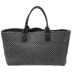 Bottega Veneta Dark Grey Woven Leather Medium Limited Edition 143/500 Cabat Tote