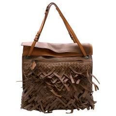 Bottega Veneta Dark Leather Intrecciato Fringe Tote 37cm