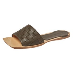 Bottega Veneta Dark Olive Green Intrecciato Leather Flat Slides Size 41