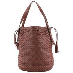 Bottega Veneta Drawstring Tassel Bucket Bag Intrecciato Nappa Small