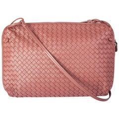 BOTTEGA VENETA dusty rose pink leather INTRECCIATO NODINI Crossbody Shoulder Bag