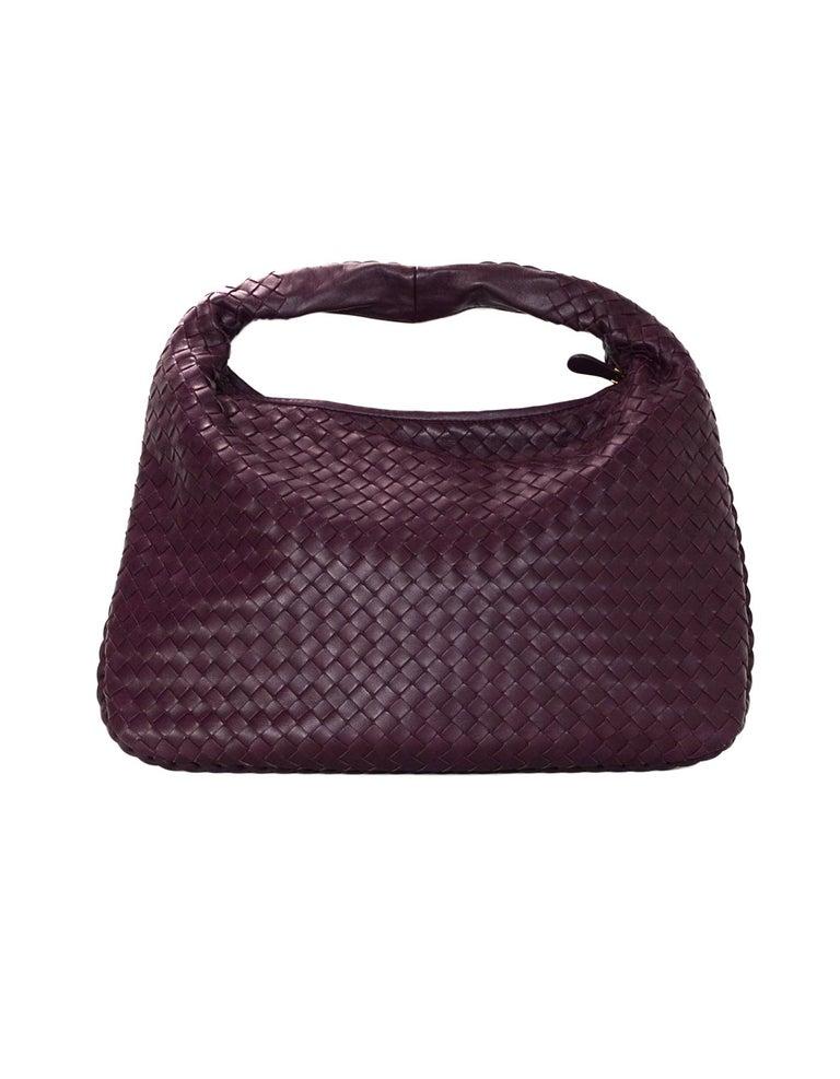 Black Bottega Veneta Eggplant Purple Woven Nappa Intrecciato Medium Veneta Hobo Bag