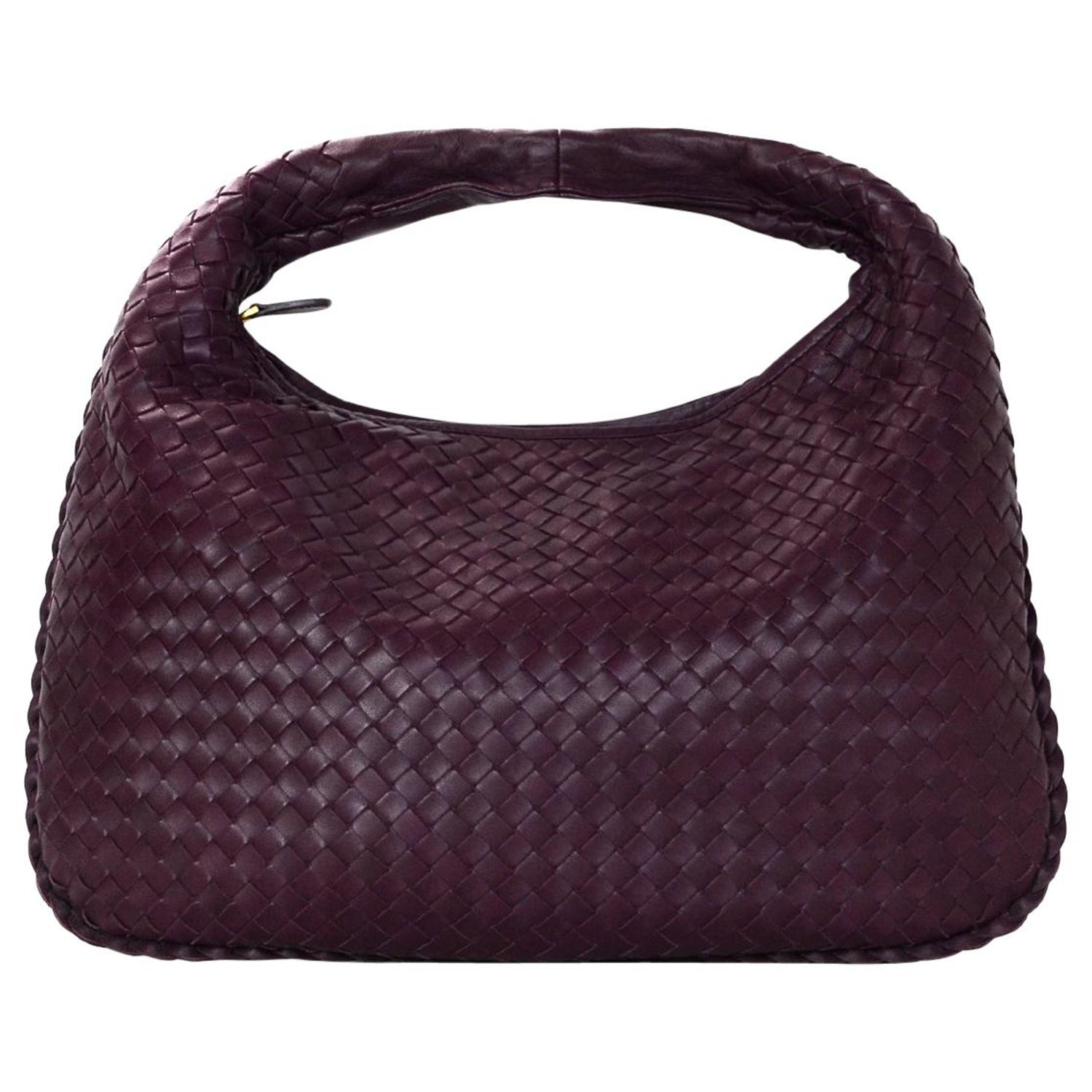 1182df6be236 Bottega Veneta Eggplant Purple Woven Nappa Intrecciato Medium Veneta Hobo  Bag For Sale at 1stdibs