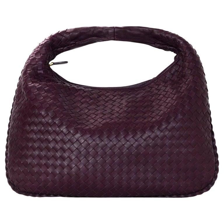 34ad69299259 Bottega Veneta Eggplant Purple Woven Nappa Intrecciato Medium Veneta Hobo  Bag For Sale