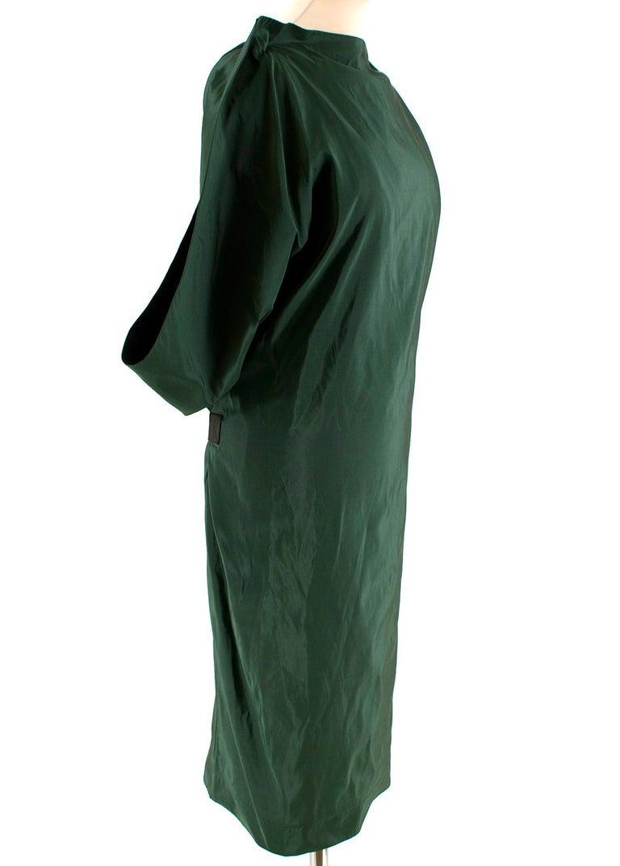 Bottega Veneta Emerald Green Silk Open Back Dress  - Sack dress style - Open back design with black elastic strapping  - Fitted corset bra  - Midi length  - Black elastic belt - Concealed back zip fastening  Materials  100% silk   Dry clean only