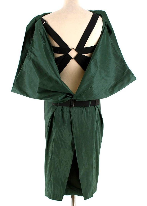 Bottega Veneta Emerald Green Silk Open Back Dress 40 In Excellent Condition For Sale In London, GB