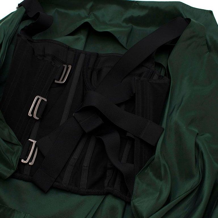 Women's Bottega Veneta Emerald Green Silk Open Back Dress 40 For Sale