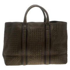 Bottega Veneta Fatigue Green Intrecciato Leather Large Tote