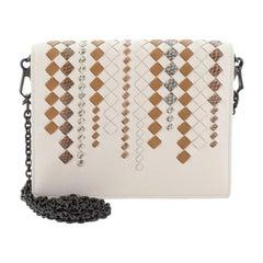 Bottega Veneta Flap Wallet On Chain Leather With Intrecciato Snakeskin Detail Sm