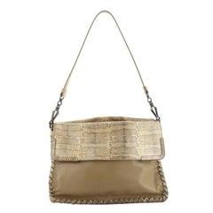 Bottega Veneta Fold Over Convertible Shoulder Bag Leather With Python Medium