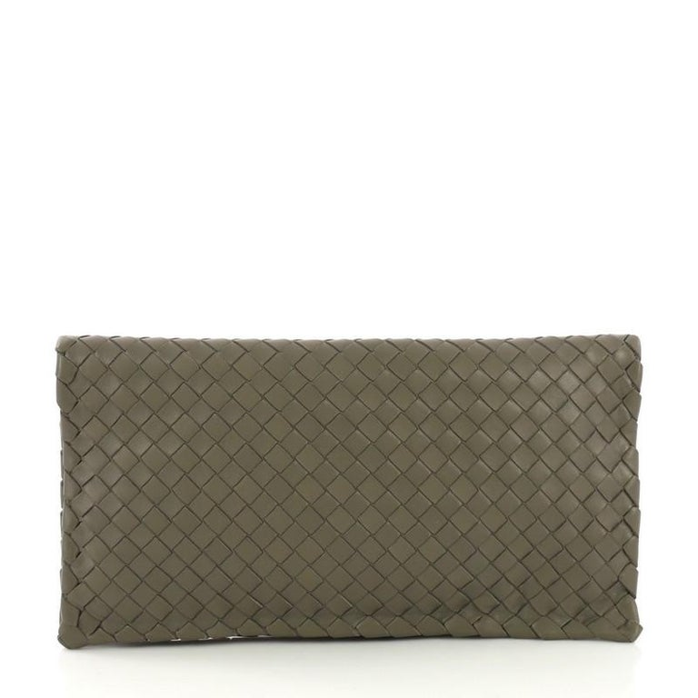 Gray Bottega Veneta Fold Over Turnlock Clutch Intrecciato Nappa