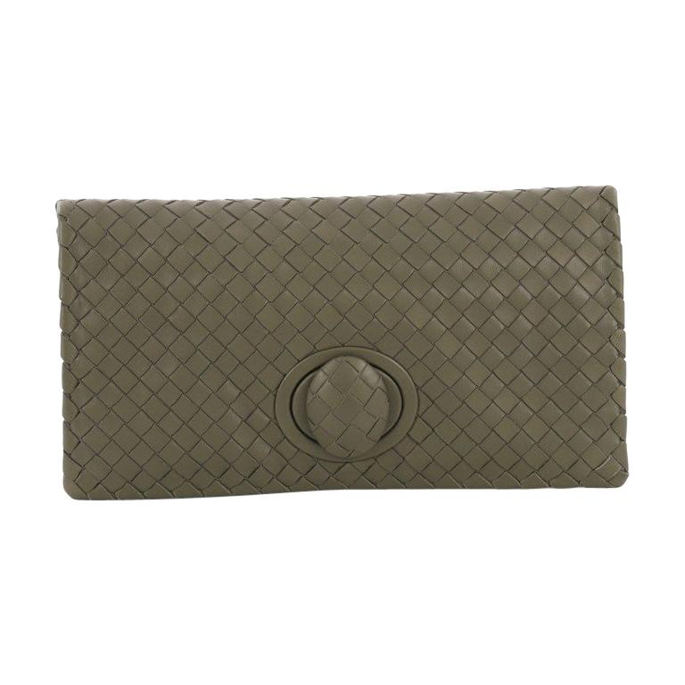 0c0d6739f9802 Bottega Veneta Fold Over Turnlock Clutch Intrecciato Nappa For Sale ...