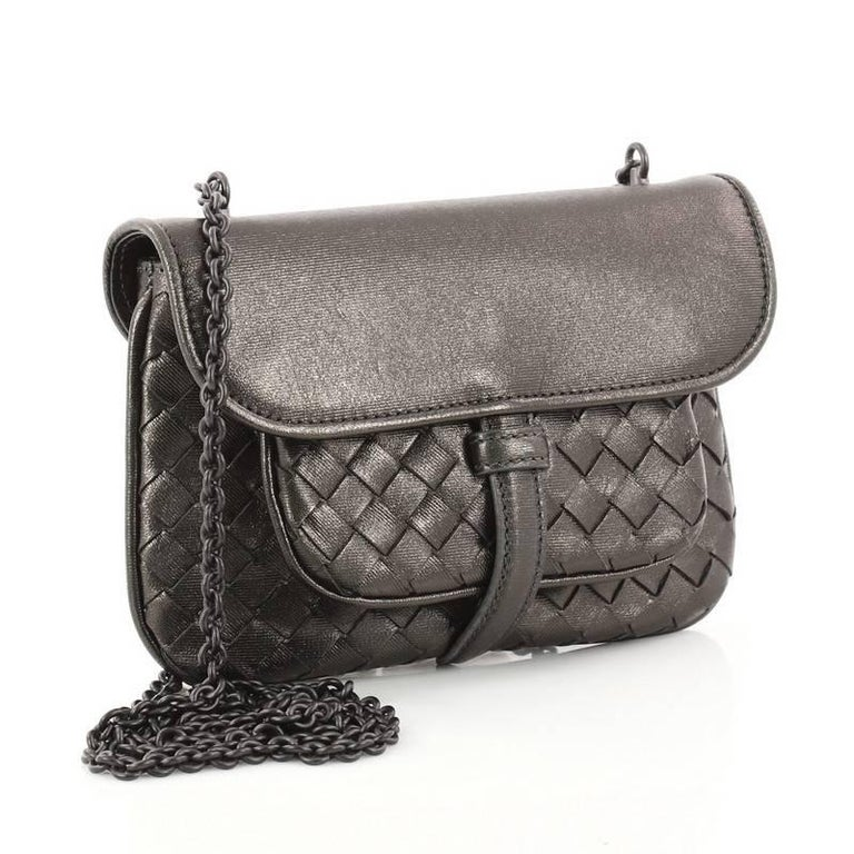 12822fc1f6f1 Black Bottega Veneta Front Pocket Chain Flap Crossbody Bag Intrecciato  Nappa Small For Sale