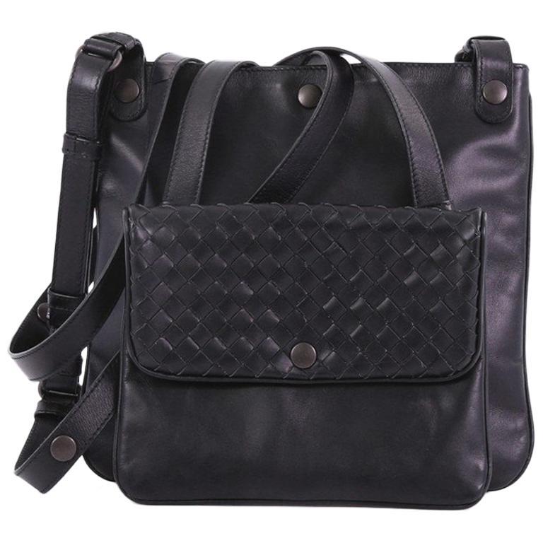 33335ef75b Bottega Veneta Front Pocket Messenger Bag Leather with Intrecciato Detail  Small For Sale